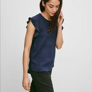 Aritzia Babaton Chaplin blue flutter sleeve blouse